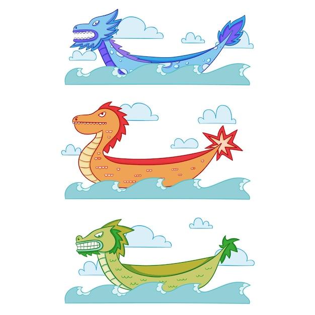 Ручной обращается дизайн дракона лодка пакет Бесплатные векторы