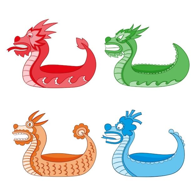 Набор рисованной драконьей лодки Бесплатные векторы