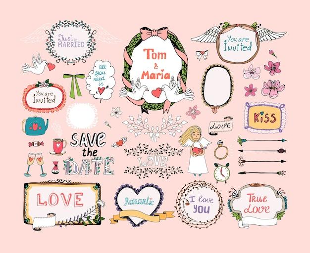 Elementi di design disegnati a mano per la decorazione di inviti di nozze. cornice, ghirlande, simboli di nozze. Vettore gratuito