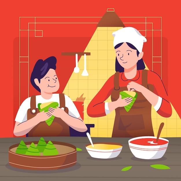 Нарисованная рукой семья дизайна подготовляя zongzi Бесплатные векторы