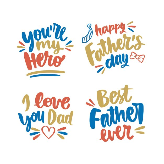 Hand drawn design father's day labels Free Vector