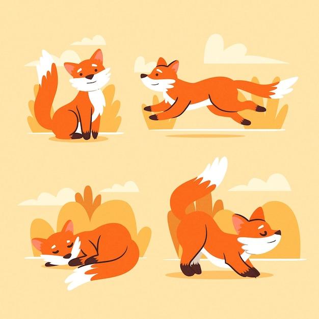 Collezione di volpe design disegnato a mano Vettore gratuito
