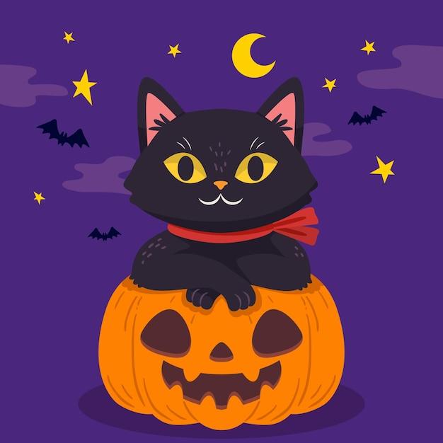 手描きデザインのハロウィン猫 Premiumベクター