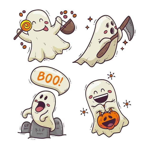 Ручной обращается дизайн хэллоуин призрак набор Бесплатные векторы