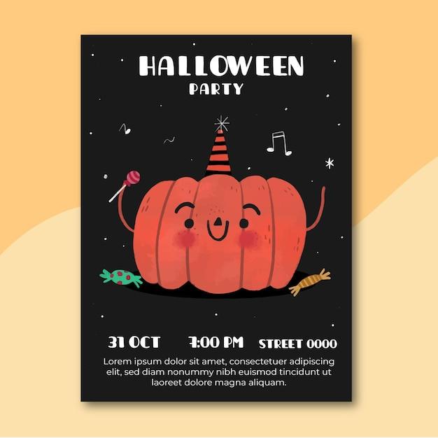 Manifesto del partito di halloween di disegno disegnato a mano Vettore gratuito