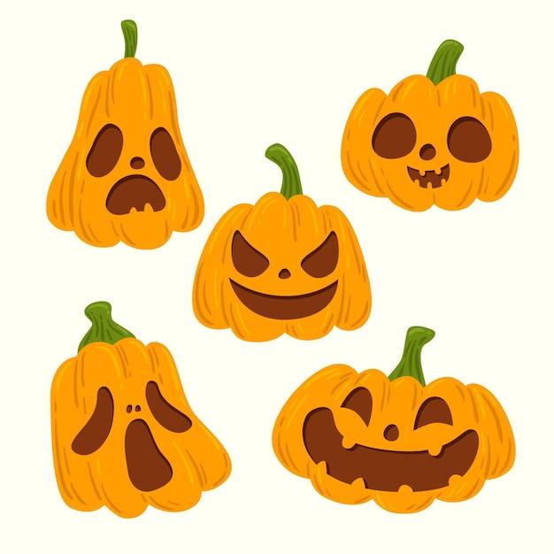 Ручной обращается дизайн хэллоуин тыквы Бесплатные векторы