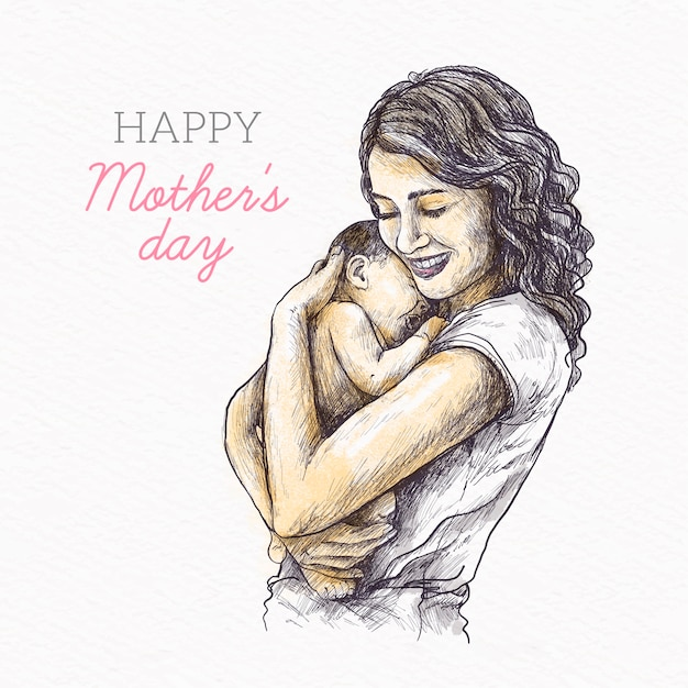 Hand drawn design mother's day Free Vector