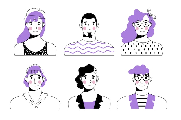 Hand drawn design people avatars set Free Vector