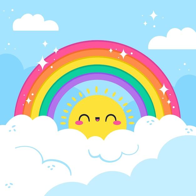 Hand drawn design rainbow Free Vector