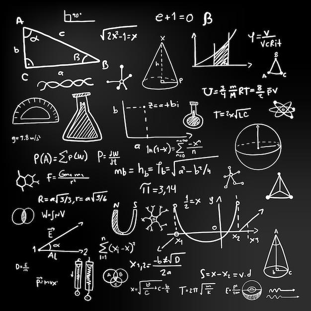 Ручной обращается дизайн научных формул Бесплатные векторы