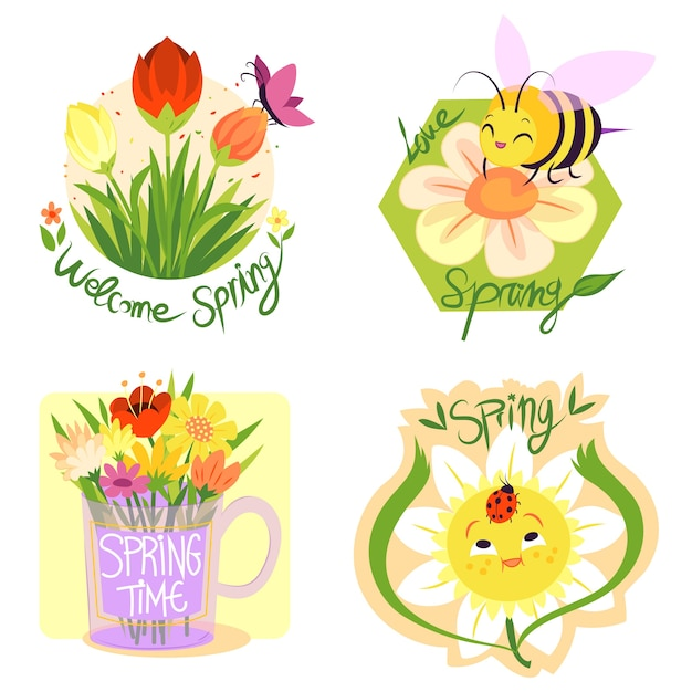 Ручной обращается дизайн весна коллекция этикеток Бесплатные векторы