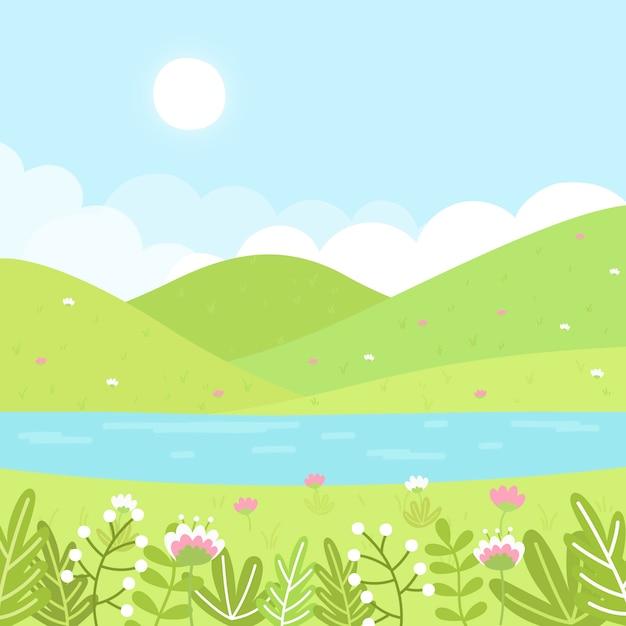 手描きデザインの春の風景 無料ベクター