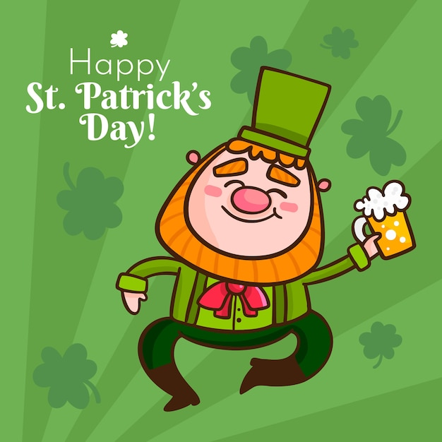 Hand drawn design st. patrick's day with beer Free Vector