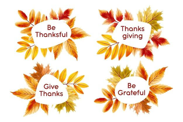 Hand drawn design thanksgiving badges Free Vector