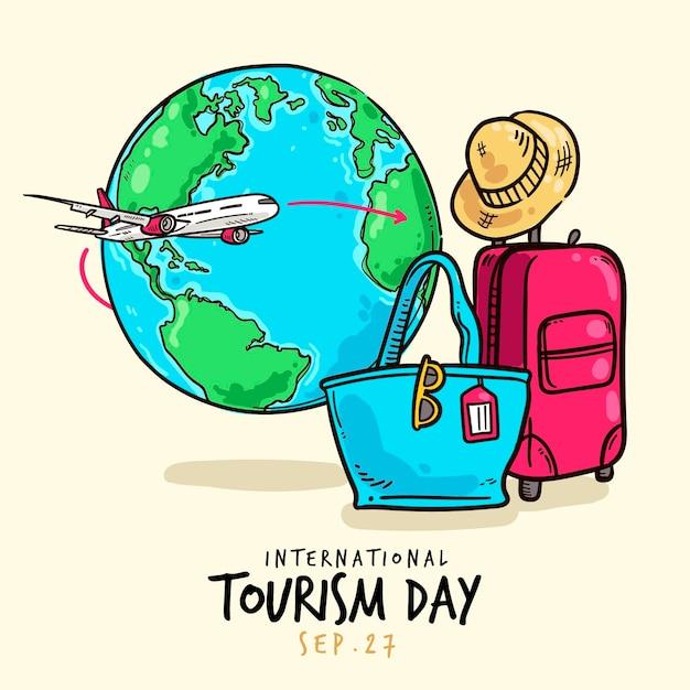 Нарисованное от руки событие дня туризма дизайна Бесплатные векторы