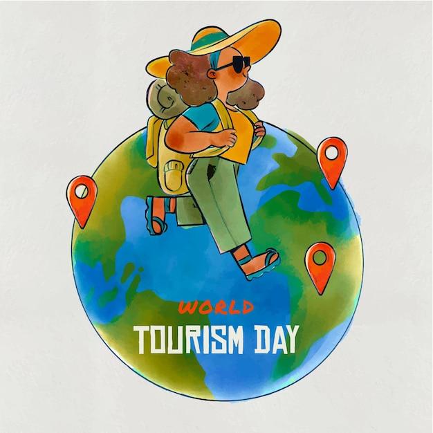 Ручной обращается дизайн день туризма Бесплатные векторы