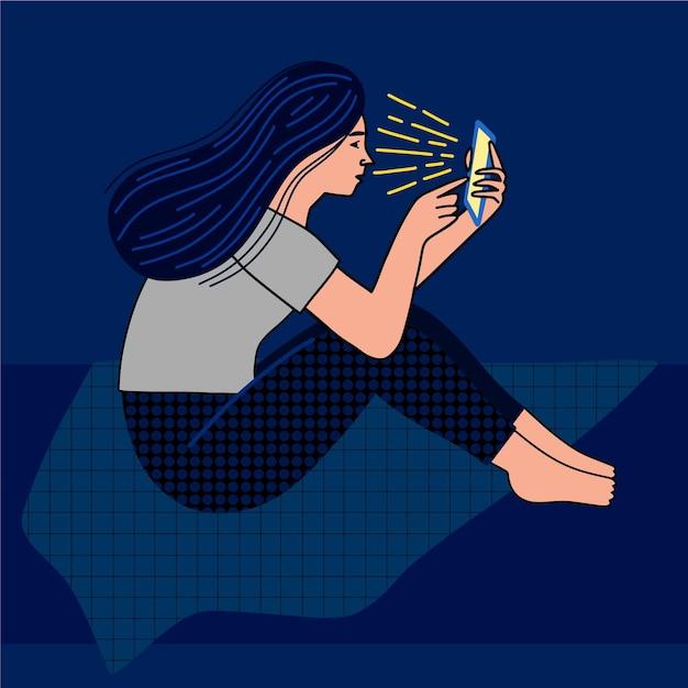 Donna di disegno disegnato a mano con il telefono Vettore gratuito