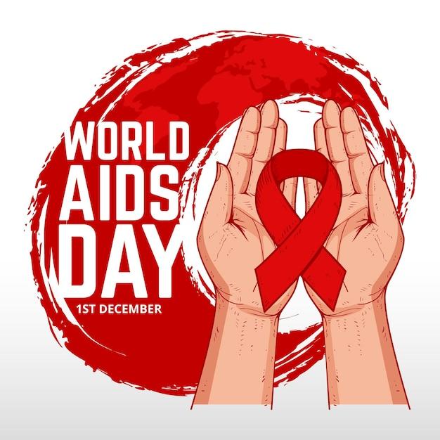 Hand drawn design world aids day Premium Vector