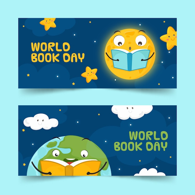 Hand drawn design world book day banners Free Vector