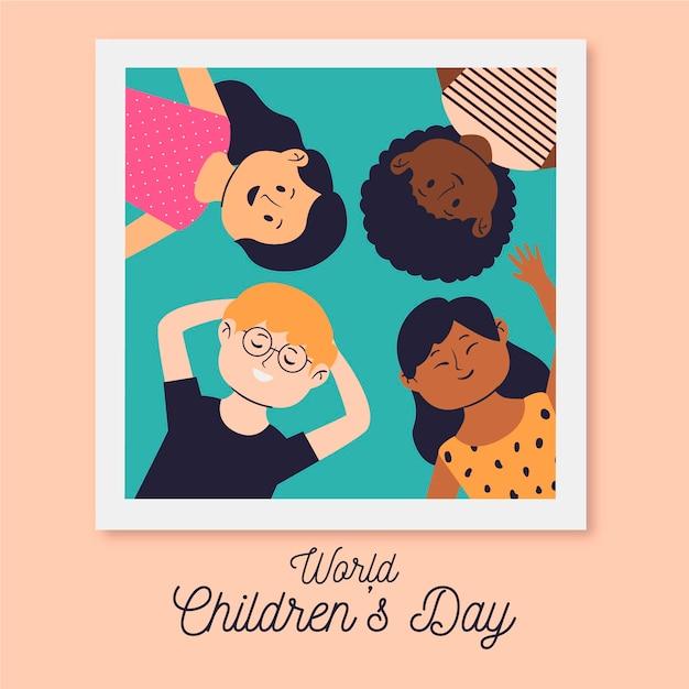 Evento della giornata mondiale dei bambini di design disegnato a mano Vettore gratuito