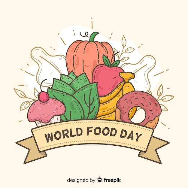 手描きデザイン世界食の日 無料ベクター