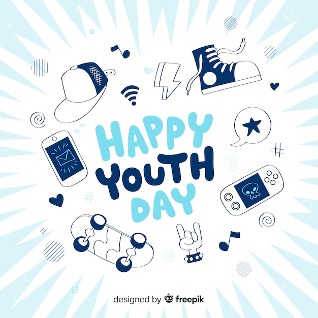 Hand drawn design youth day background Free Vector