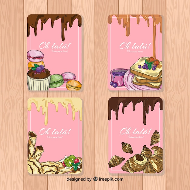 Hand drawn dessert card collection Free Vector