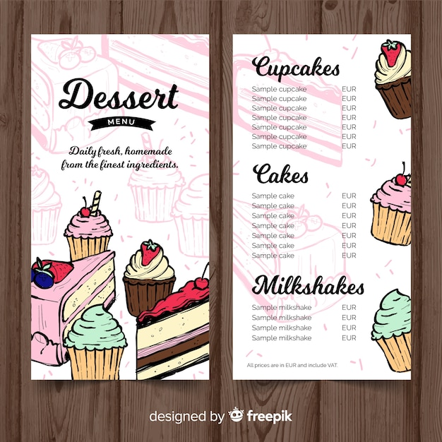 hand drawn dessert menu template vector free download