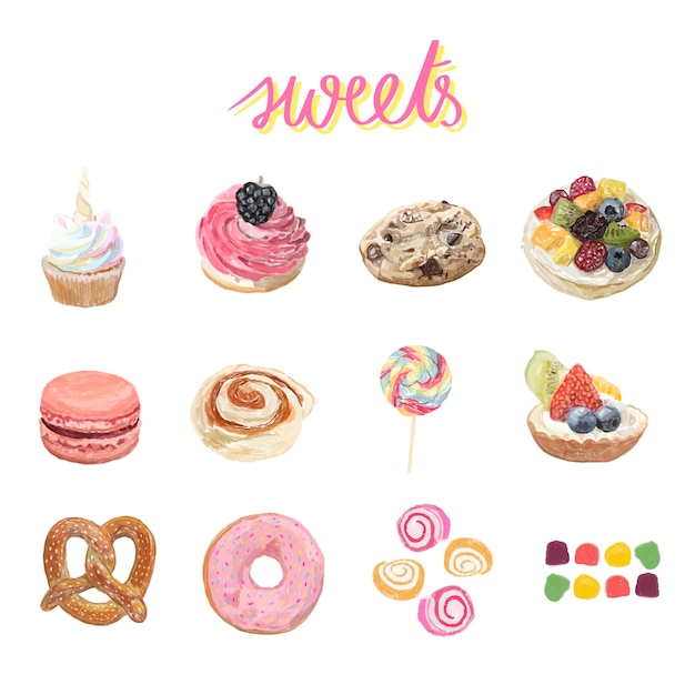 Hand drawn dessert watercolor style Free Vector