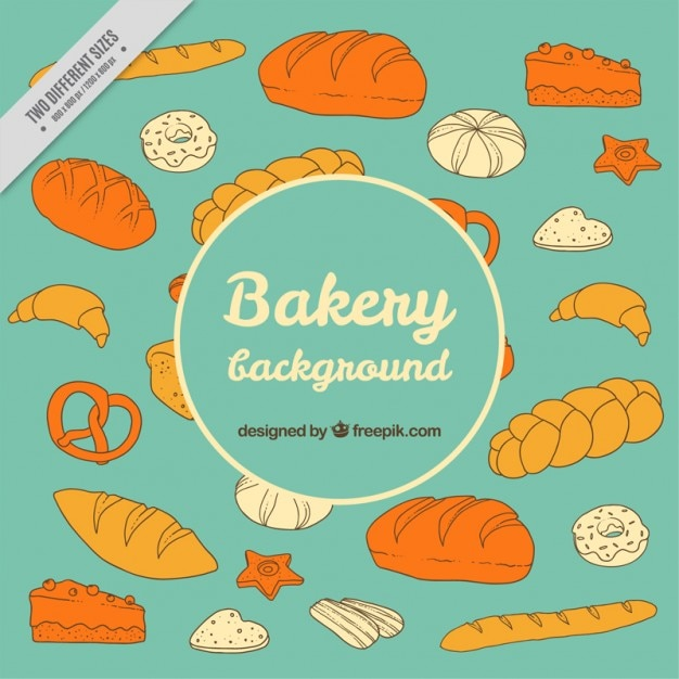 Hand drawn desserts and breads\ background
