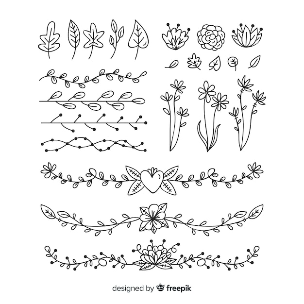 Hand drawn detailed floral ornament collection Free Vector