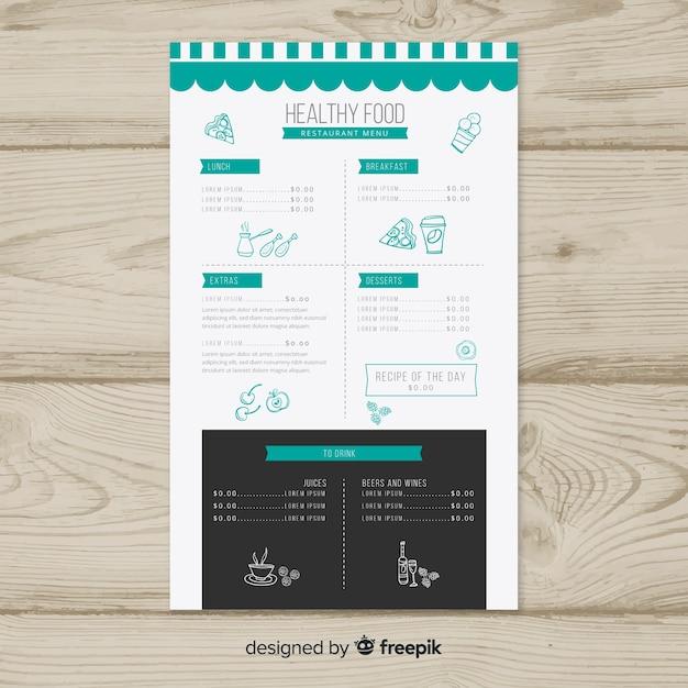 Hand drawn details healthy menu template Free Vector