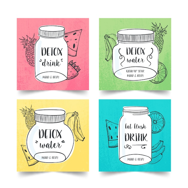 Hand drawn detox diet drink collection with several fruits and vegetables Free Vector