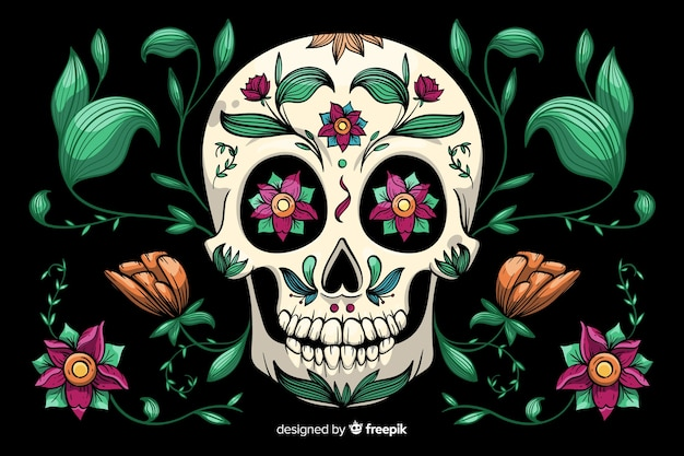 Hand drawn dia de muertos background Free Vector