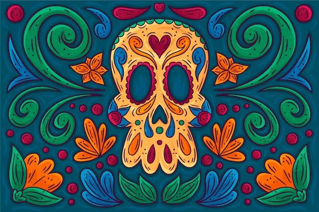 Sfondo dia de muertos disegnato a mano Vettore gratuito