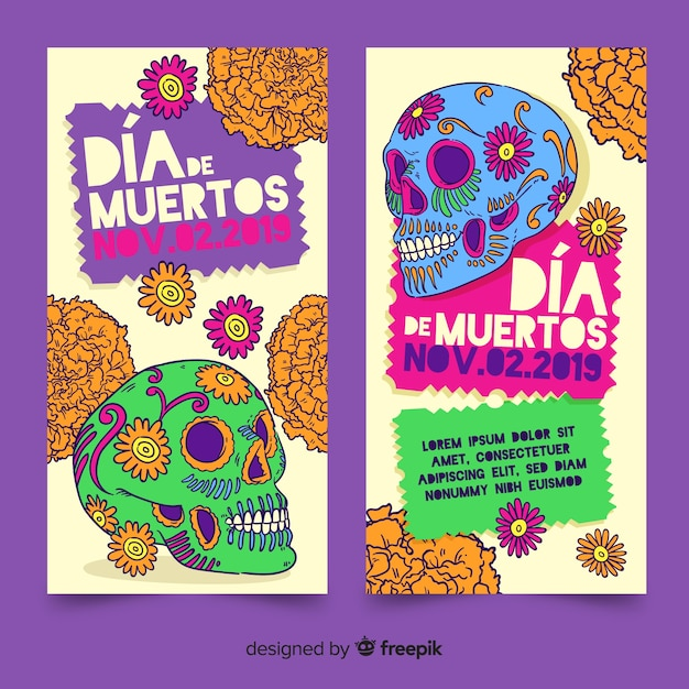 Hand drawn día de muertos banners template Free Vector