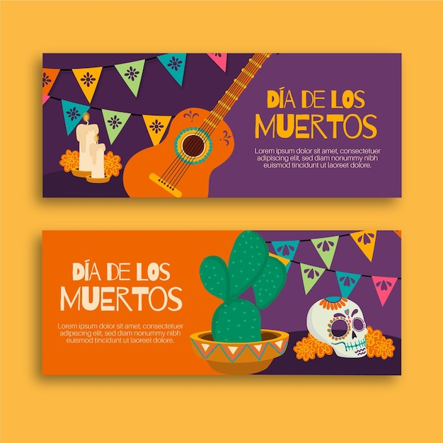 Hand drawn dia de muertos banners template Free Vector