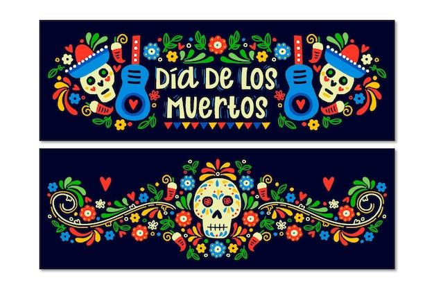 Hand drawn dia de muertos banners Premium Vector
