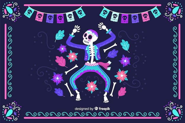 Hand drawn día de muertos neon skeleton dancing background Free Vector