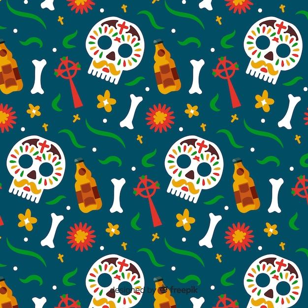 Hand drawn día de muertos pattern in green background Free Vector