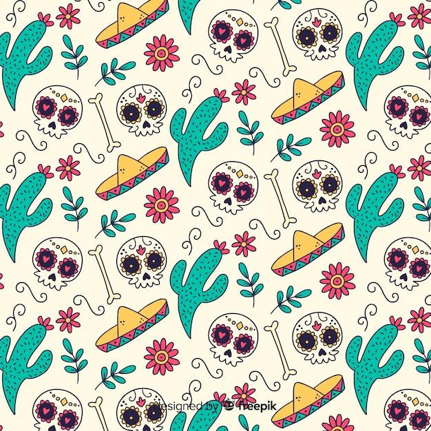 Hand drawn día de muertos pattern Free Vector