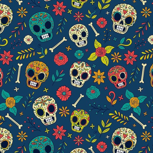 Hand drawn dia de muertos pattern Free Vector