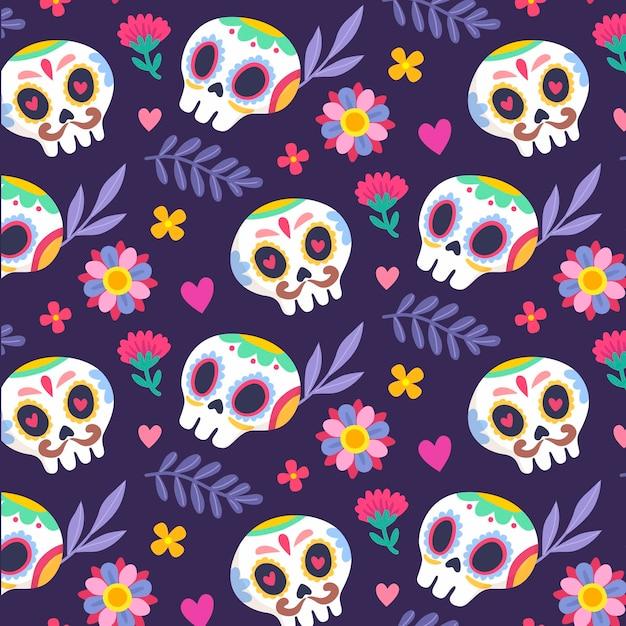 Hand drawn dia de muertos pattern Premium Vector