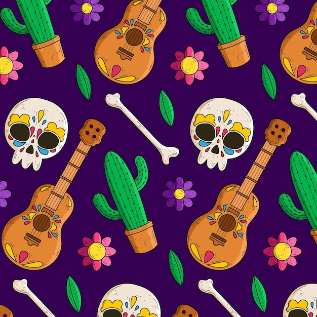 Hand drawn dia de muertos pattern Free Vector
