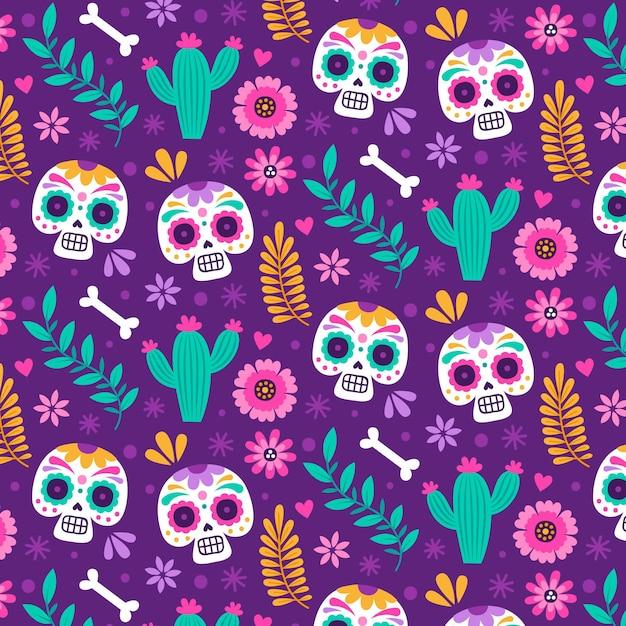 Hand drawn día de muertos pattern Premium Vector