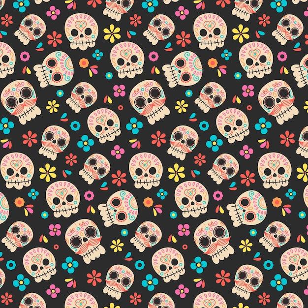 손으로 그린 된 Día De Muertos 패턴 프리미엄 벡터