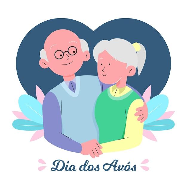 Концепция рисованной dia dos avós Бесплатные векторы