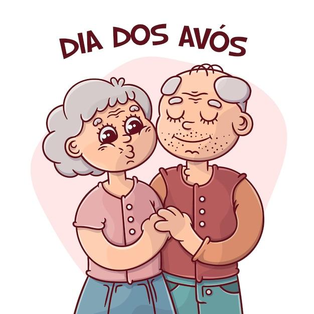 手描きdia dos avosコンセプト 無料ベクター