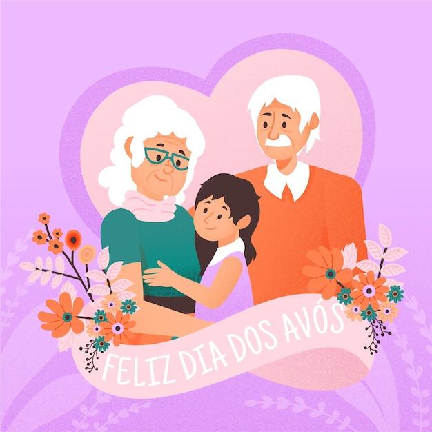 Рисованная dia dos avós с бабушкой и дедушкой Бесплатные векторы