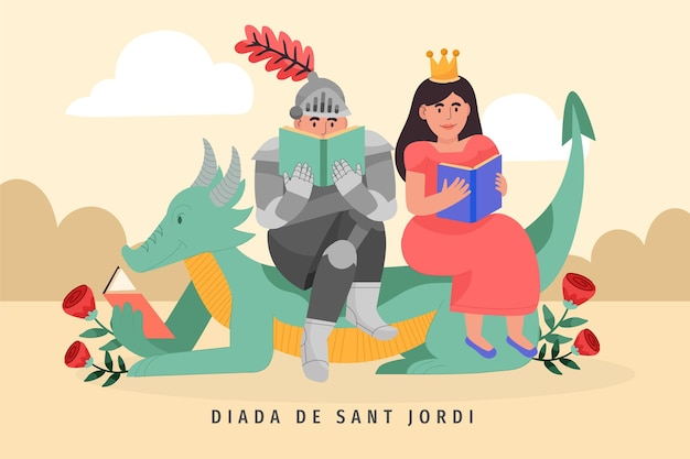 Hand drawn diada de sant jordi illustration with knight and princess reading book   Free Vector